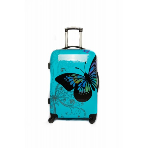 "Valise taille Moyenne 4 roues 65cm Polycarbonate - Trolley ADC ""Butterfly"" Rigide."