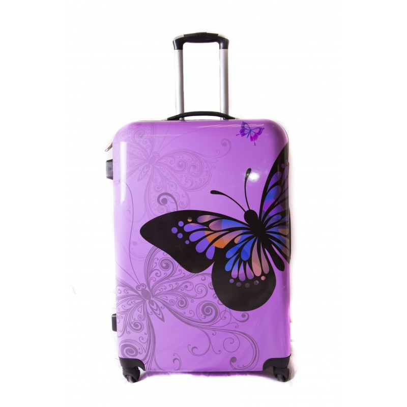 """Valise Grande taille 75cm 4 roues Polycarbonate - Trolley ADC """"Butterfly"""" Rigide."""