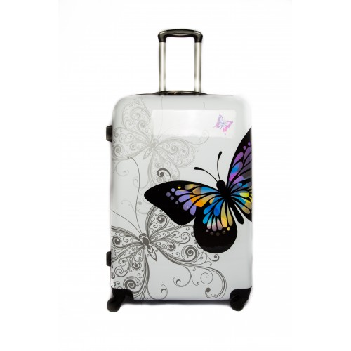 "Valise Grande taille 75cm 4 roues Polycarbonate - Trolley ADC ""Butterfly"" Rigide."