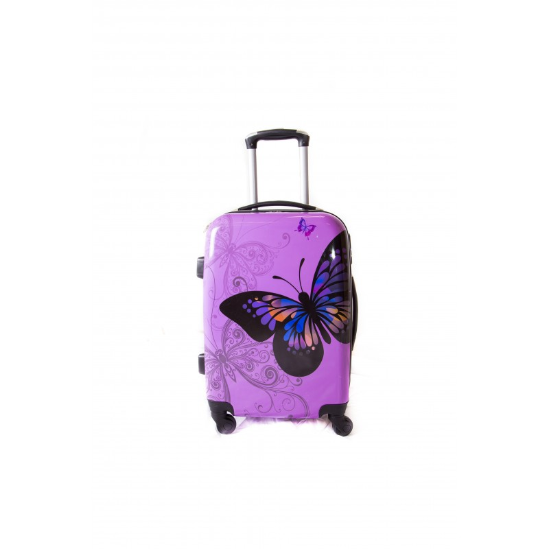 """Valise taille cabine 4 roues 55cm Polycarbonate - Trolley ADC """"Butterly"""" Rigide."""